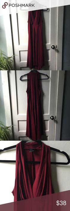 MODA INTERNATIONAL Burgundy Wine Deep V Evening Very flattering dress. Definitely a 1930s silver screen queen inspired cut. Absolutely classic evening piece. Timelessly tasteful. Perfect color for fall too! Barely worn. No imperfections seen. Moda International Dresses Midi