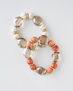 "Deborah Grivas Colorful Bracelet $118 Proof that sophisticated can still be fun. This easy slip-on bracelet looks great on its own or in a stack. Coral Mix is dyed orange agate, champagne crystal, and 14K gold plate. White Mix is stabilized magnesite, champagne crystal, and 14K gold plate. USA.  Size: 3/4"" W"