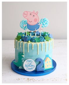 Tortas Peppa Pig, Bolo Da Peppa Pig, Peppa Pig Cakes, Peppa Pig Pinata, Baby Boy Birthday Cake, Peppa Pig Birthday Cake, Women Birthday, 3rd Birthday, Pig Cupcakes