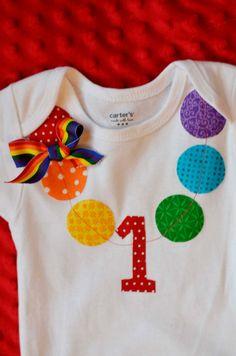 Rainbow 1st Birthday Onesie Baby Girl by CutesyTootsyBoutique, $18.00