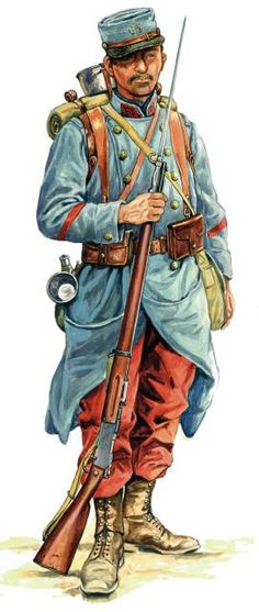 The French infantry uniform at the beginning of the war.  Nice look, actually, but the leaders opted for an updated and more common-sense blue-gray with a new steel helmet in late 1915.  The British, Germans, and Americans did the same, with all adopting steel helmets and uniforms that tended to blend in with the surroundings much better.