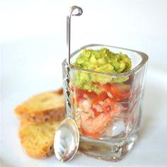 Amuse of avocado, tomato and crab