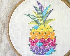 Pineapple, hand embroidery pattern, modern hand embroidery patterns, Colorful hawaii decor, fruit, pineapple design by NaiveNeedle This is a digital hand embroidery pattern in PDF format. This cheery colorful design will look great on any fabric of neutral colors. Ideas for use: linen