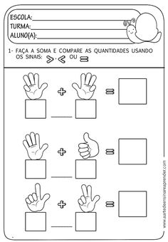 A Arte de Ensinar e Aprender: atividades Kindergarten Worksheets, Preschool Math, Teaching Math, Preschool Printables, Worksheets For Kids, Math Activities, Teaching Spanish, Childhood Education, Kids Education