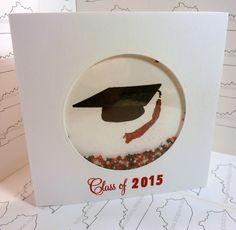 A square handmade graduation shaker card using Memento Inks, Kitchen Sink Stamps 3 step Graduation