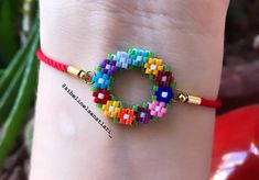Beading For Kids, Beaded Jewelry Patterns, Brick Stitch, Beads And Wire, Bead Crochet, Loom Beading, Ring Bracelet, Beaded Flowers, Bead Weaving