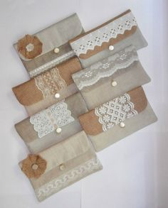 Rustic white  Set of 7 burlap/ hessian and by KajarCollection, $168.00