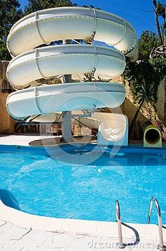 Swimming Pool With Water Slide. Something for the backyard?                                                                                                                                                     More