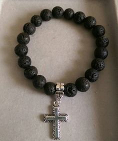 """""""Rock solid"""" black """"lava-like"""" beads on a stretch band w/cross  #love924"""