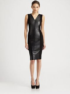!!!!!!!!!!!! I want this!! Robert Rodriguez - Suede & Leather V-Neck Dress - Saks.com $995 Dang this is hot!!