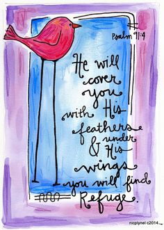 Bible Verse Psalms Refuge in God's Wings  Illustration Watercolor Print