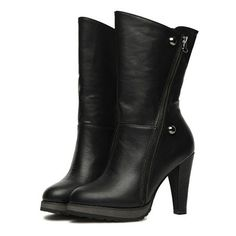 Black Leatherette Chunky Heel Ankle Boots Shoes$55.00 ($55) ❤ liked on Polyvore