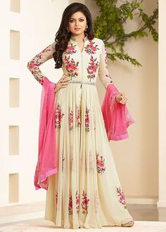 Shop Beautiful Cream Georgette Long Anarkali Dress. by Fab4fashion online. Largest collection of Latest Anarkalis online. ✻ 100% Genuine Products ✻ Easy Returns ✻ Timely Delivery