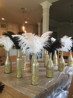 art deco, Gatsby party, roaring 20's centerpieces, diy