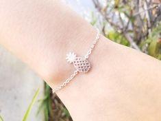 Rose Gold Pineapple Bracelet, Initial Bracelet, #jewelry #bracelet @EtsyMktgTool #bridesmaidgift #giftforher #daintynecklace #letternecklace
