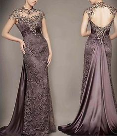 Sexy Lace Prom Dresses Beading Backless Long Party/Pageant/Formal/Evening Gowns