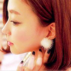 2016 패션 여성 모피 진주 더블 사이드 Percing 귀 스터드 11 색상 문 신부 선물 액세서리