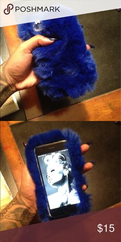 Blue Fur iPhone case Very soft and extremely thick. Brand new and never used. For iPhone 6plus only Accessories Phone Cases