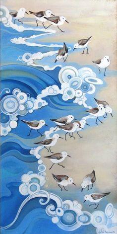 Waves lap the shore. A bustle of sandpipers dart in, dart away, dit dit dit dit … – Hobbies paining body for kids and adult Art Plage, Art Et Illustration, Ocean Art, Beach Art, Bird Art, Art Reproductions, Painting Inspiration, Watercolor Paintings, Watercolor Paper