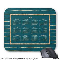Gold Foil Petrol Yearly 2017 Calendar Mouse Pads