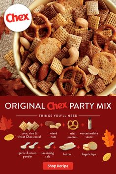 Original Chex™ Party Mix It's the time-tested party snack everyone loves—and is ready in just 15 minutes! Win your next gathering by bringing Original Chex Party Mix. Thanksgiving Snacks, Christmas Snacks, Christmas Baking, Christmas Cookies, Snack Mix Recipes, Snack Mixes, Recipe For Chex Mix Snack, Cookie Recipes, Holiday Recipes