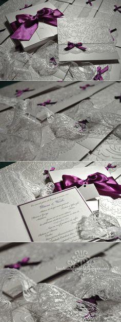 Purple and White Splendor. The Wedding Invitations. - Handmade by Meda