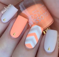 There are three kinds of fake nails which all come from the family of plastics. Acrylic nails are a liquid and powder mix. They are mixed in front of you and then they are brushed onto your nails and shaped. These nails are air dried. Bright Summer Nails, Summer Stripes, Bright Orange Nails, Colorful Nails, Coral Orange, Gold Stripes, Summer Colors, Spring Nails, Orange Color