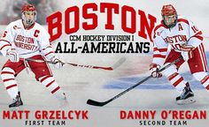 Great news tonight as Matt Grzelcyk and Danny O'Regan have been named All-Americans! Grzelcyk is a first-teamer for the second straight year while O'Regan caps his career with second-team honors! #ProudToBU by terrierhockey