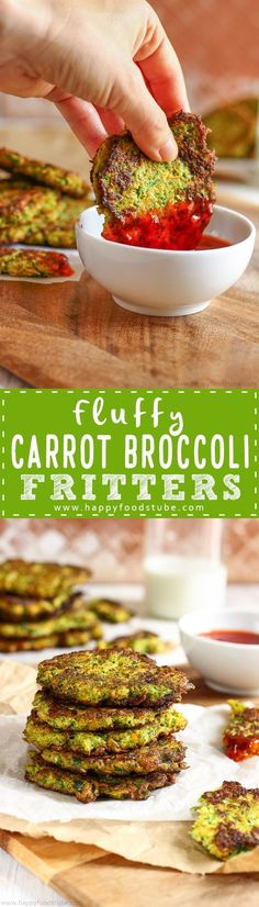 Fluffy carrot broccoli fritters recipe. If you are looking for meat-free alternatives or want to include more veggies in your diet these vegetable patties are for you. Ready in 30 minutes via @happyfoodstube