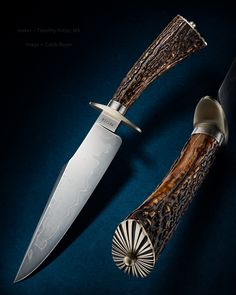 """Maker: Timothy Potier, MS Blade Length: 8"""" Overall Length: 13 1/8"""" Blade: W-2 with Hamon Handle: Sambar stag Fittings: Nickel silver #knife #knifecommunity #handmade #knives #customknives #knifepics #handmadeknives #calebroyerphotography #knifeart #knifemaking"""