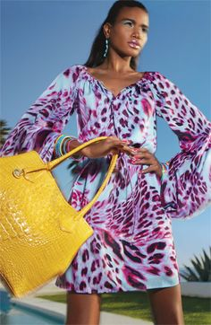 Laundry by Shelli Segal Full Sleeve Animal Print Satin Dress.  Also love the yellow handbag pop.