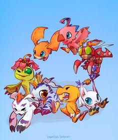 Digimon Adventure: Palmon, Gomamon, Gabumon, Agumon, Gatomon (Tailmon), Tentomon, Biyomon (Piyomon) and Patamon