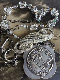 Maison de Jeanne D'Arc, Large locket assemblage necklace, home of Joan of Arc by OldNouveau on Etsy https://www.etsy.com/listing/246063865/maison-de-jeanne-darc-large-locket