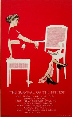 """""""The Survival of the Fittest"""" ~ Vintage fade-away postcard illustrated by Coles Phillips, ca. 1910s"""