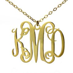 3 Initial Personalized  Monogram Necklace 18K Gold Plating - 1 inch - 100% Handmade