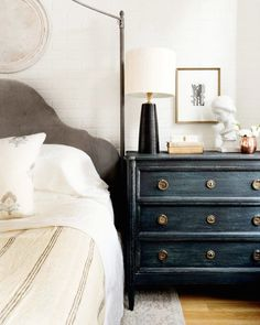 A worldly and sophisticated eclectic bedroom by Becca Interiors gets recreated by copycatchic luxe living for less budget home decor and design Cozy Bedroom, Master Bedroom, Bedroom Decor, Bedroom Ideas, Bedroom Neutral, Pretty Bedroom, Bedroom Lighting, Tranquil Bedroom, Bedroom Chest