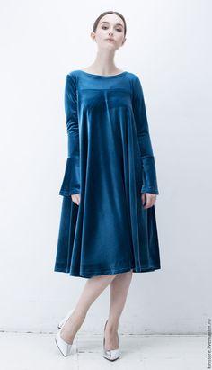 """Купить Платье из бархата """"Лузурный изыск"""" - тёмно-зелёный, однотонный, Платье нарядное, платье из бархата"""