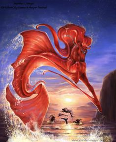 Coral & the Pearl Diver - Sea horse by Jennifer L Meyer (BellaSara) Mythical Creatures Art, Mythological Creatures, Magical Creatures, Beautiful Creatures, Fantasy World, Fantasy Art, Pixiv Fantasia, Unicorn Art, Horse Drawings
