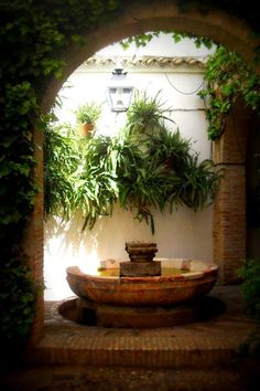 Andalusia Spain fountain in shaded courtyard Spanish Style Homes, Spanish Revival, Spanish House, Spanish Colonial, Spanish Exterior, Mexican Hacienda, Hacienda Style, Outdoor Spaces, Outdoor Living