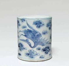 A blue and white brush holder, Joseon Dynasty, century) - Alain. Korean Art, Art Object, White Porcelain, Crane, 19th Century, Objects, Blue And White, Clouds, Decor