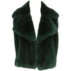 Preowned Roberto Cavalli Emerald Green Sleeveless Fur Vest (size 40) ($8,995) ❤ liked on Polyvore featuring outerwear, vests, green, green waistcoat, emerald green vest, roberto cavalli, sleeveless waistcoat and green vest