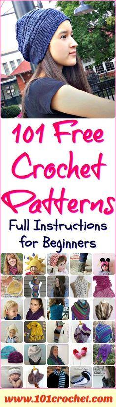101 Free Crochet Patterns - Full Instructions for Beginners   101 Crochet