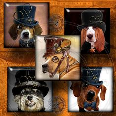 Steampunk Dogs  Digital Collage Sheet CG609S  1x1 by CobraGraphics, $4.99
