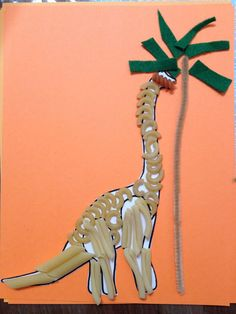 Preschool craft <b>Pasta</b> <b>dinosaur</b> | Dinosaurs and Fossils | Pinterest