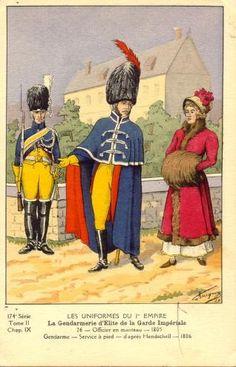 French; Imperial Guard, Gendarmes d'Elite, Gendarme,Service a Pied & Officer in Manteau 1805-06