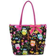 Quilted Black Owl Print Purse with Pink Handles and Pink Bow