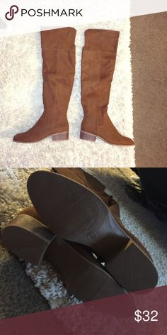 Cognac Boots These boots are brand new and fabulous. They sit right above the knee and would pair perfectly with a chunky sweater. Shoes Over the Knee Boots