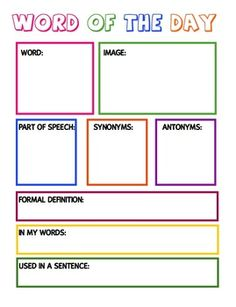 Printables Vocabulary Worksheet Template vocabulary worksheet definewritedraw template englishlinx com word of the dayweek