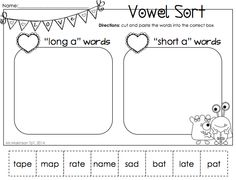 February Printable Packet - Kindergarten Literacy and Math. Long and Short vowel sort for Valentine's Day.