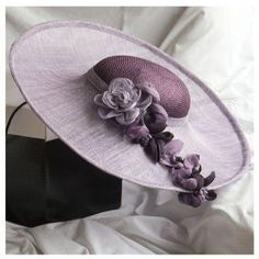 5d6f8d9c094 Large light purple brimmed hat with contrasting hand-dyed dark purple  crown